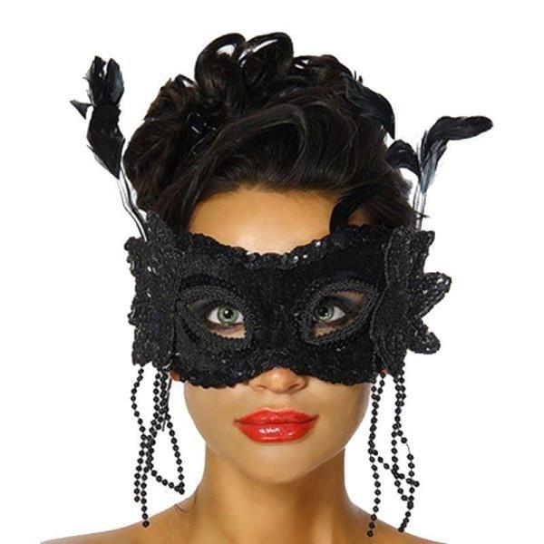 Tüylü Boncuklu Siyah Parti Maskesi