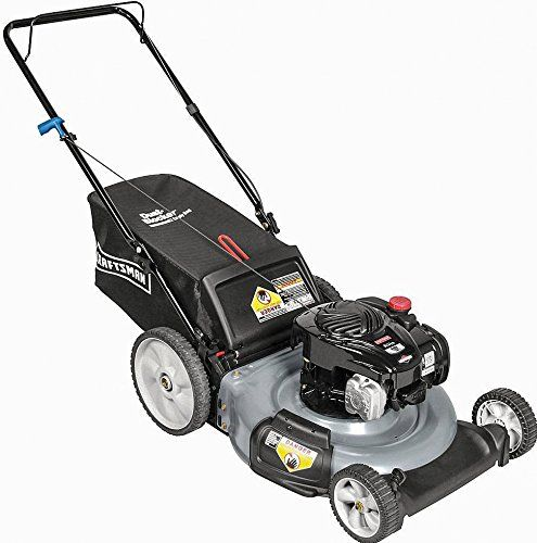Craftsman 37430 21 Inch 140cc Briggs and Stratton Gas Powered 3-in-1 Push Lawn Mower Briggs and Stratton Silver Series 5-torque - 140cc engine21-inch cutting width, low 7-inch front wheels, high 11-inch rear wheels3-in-1 cutting methods (side discharge, mulch, or bag clippings into rear bag)  http://industrialsupply.mobi/shop/craftsman-37430-21-inch-140cc-briggs-and-stratton-gas-powered-3-in-1-push-lawn-mower/