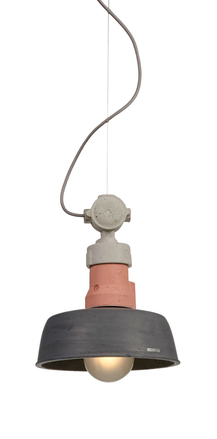 VOLTA - concrete lamp in our favourite coulours setup: natural - pastel pink - anthracite  Designed and hand cast in Poland