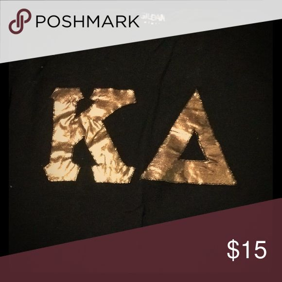 Black Kappa Delta shirt Black shirt. Metallic gold letters. Stitched. Worn once Gildan Tops Tees - Short Sleeve
