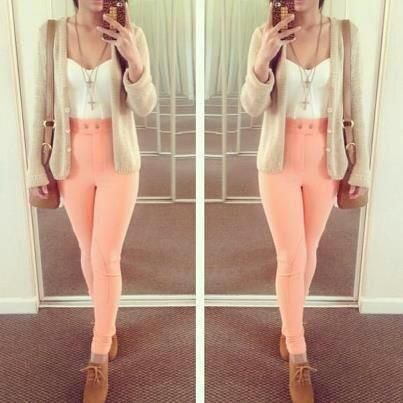 love the high waisted peach pants teamed with beige cardigan