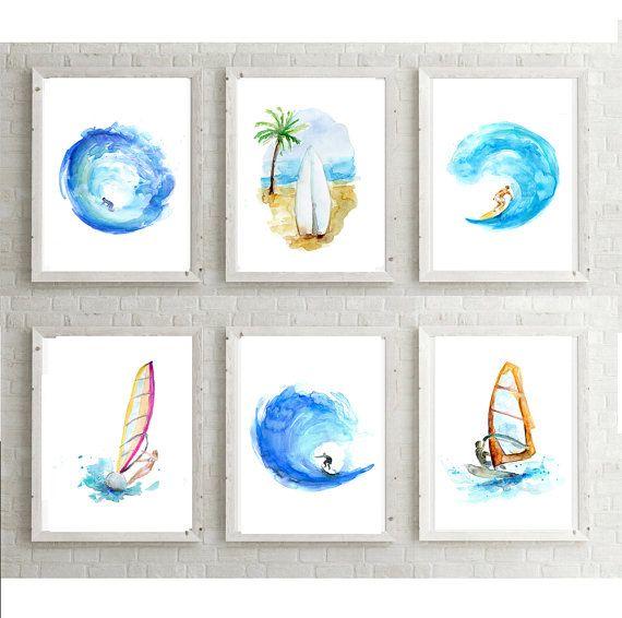 Surf schilderijen  6 Prints  windsurf  surfboard door Zendrawing
