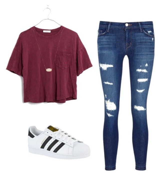 """""""School outfit #1"""" by e-m-dog ❤ liked on Polyvore featuring J Brand, adidas, Madewell and Kendra Scott"""