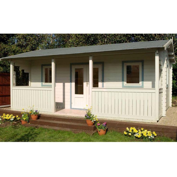 """16'5"""" x 17' FT (5 x 5.2m) Wooden Garden Log Cabin Games Room Studio"""