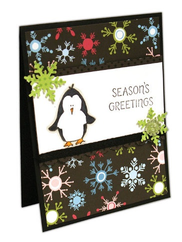Season's Greetings Penguin Card from @Crafts Direct. I like the simple layout- might be easy to recreate with my penguins Close to my Heart Wintry Wishes winter or Christmas Card?