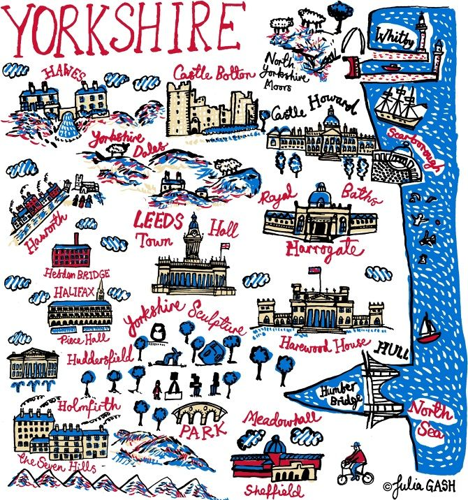 My home county covers the coast, the wild and bleak Yorkshire Moors and pretty Dales as well as the industrial heartland of England. In my Yorkshire Cityscape, I've included places that are close to my heart, such as Whitby, where I love to walk on the beach and eat fish and chips! I like to draw the contrasting architecture of the red brick...