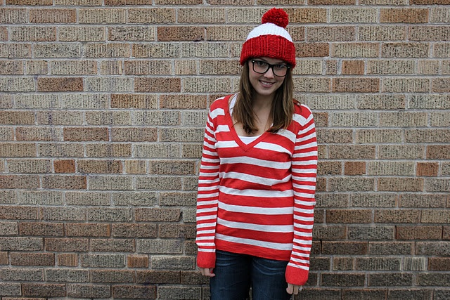 Free knitting pattern for red and white hat with pom pom, for Where's Waldo Halloween costume