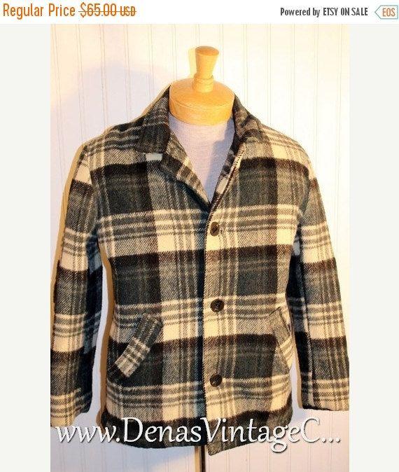 50% OFF SALE Men's Vintage Rubgy Sportswear Green Plaid Wool Hunting Jacket Barn Coat Sz 38