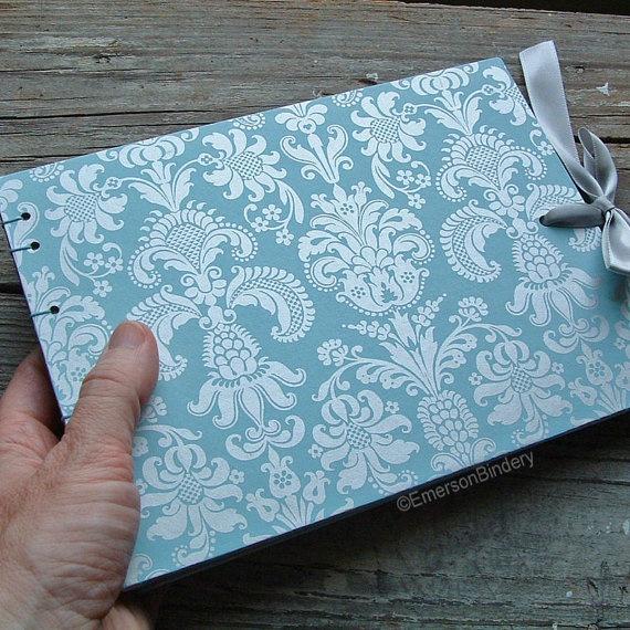 pretty blue guest book