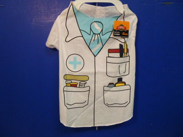 DOG DOCTOR'S UNIFORM NWT's WHITE WITH MEDICAL ART, COSTUME or WORK CLOTHES #GrreatChoice