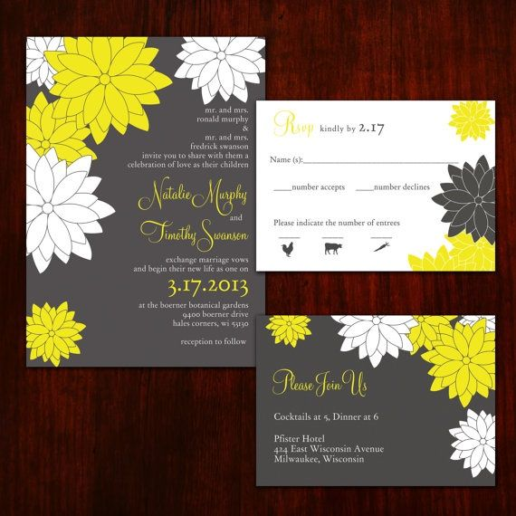 contemporary floral grey and yellow wedding invitations