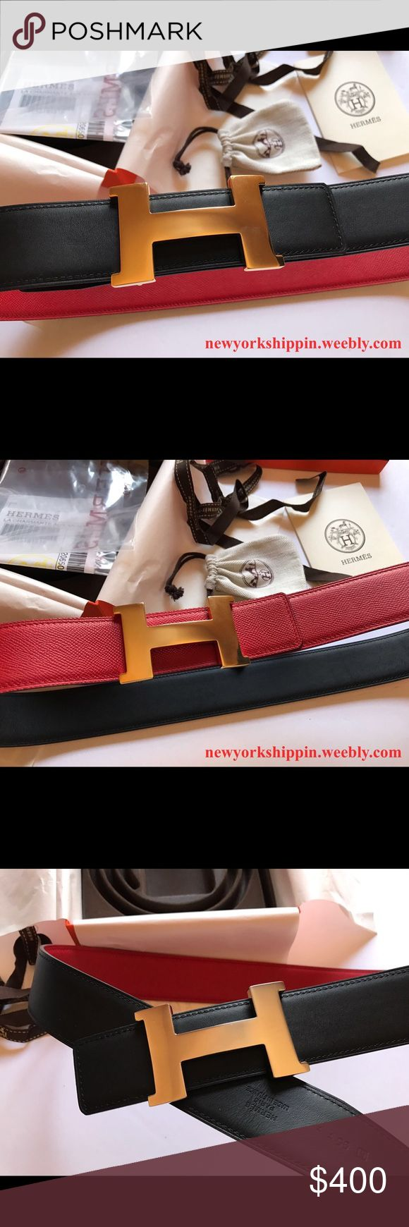 Red/black reversible Hermes belt Red/black reversible Hermes belt with gold or silver buckle. Visit website to purchase for $119.99 including priority shipping with tracking number. Delivery time 1-3 days. Comes with original box, dust bag and all accessories. Shop with confidence. 100% satisfaction guaranteed Hermes Accessories Belts