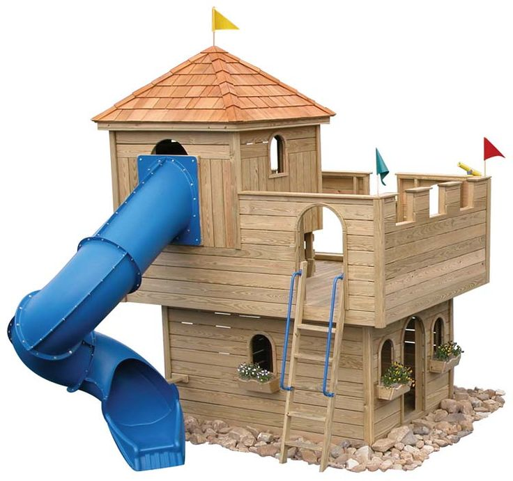Playhouse to build wooden castle tower diy crafts pinterest awesome backyards and search - How to build an outdoor wooden playground ...