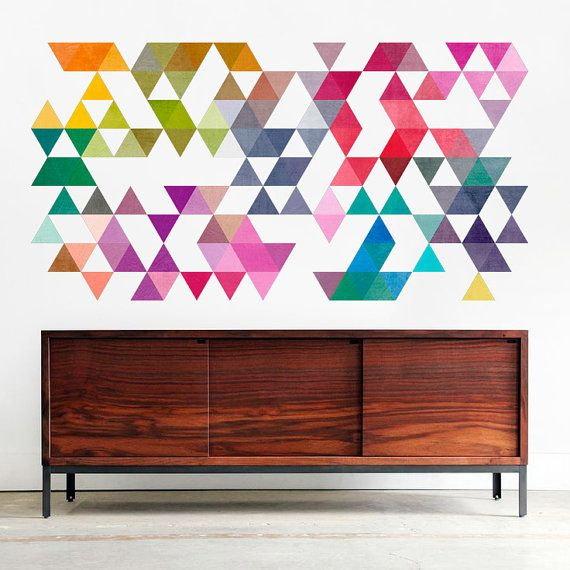Metà del secolo moderno colorati triangoli Decalcomanie da muro - Sku:coltristicker