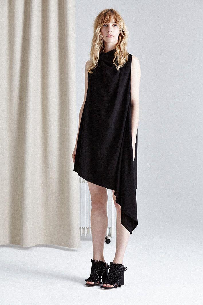 Acler - Carling Cowl Neck Drape Midi Shift Dress In Black