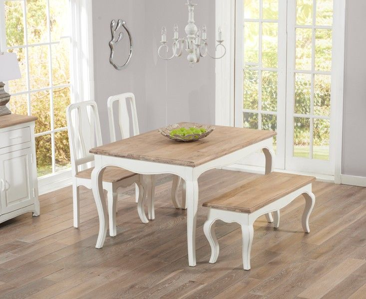 madison 90cm clear glass dining table with cavello ivory white chairs. parisian 130cm shabby chic dining table with chairs and benches. madison 90cm clear glass cavello ivory white