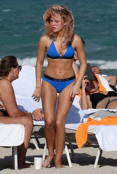 Zara Larsson in blue bikini on Miami beach in January 2017...