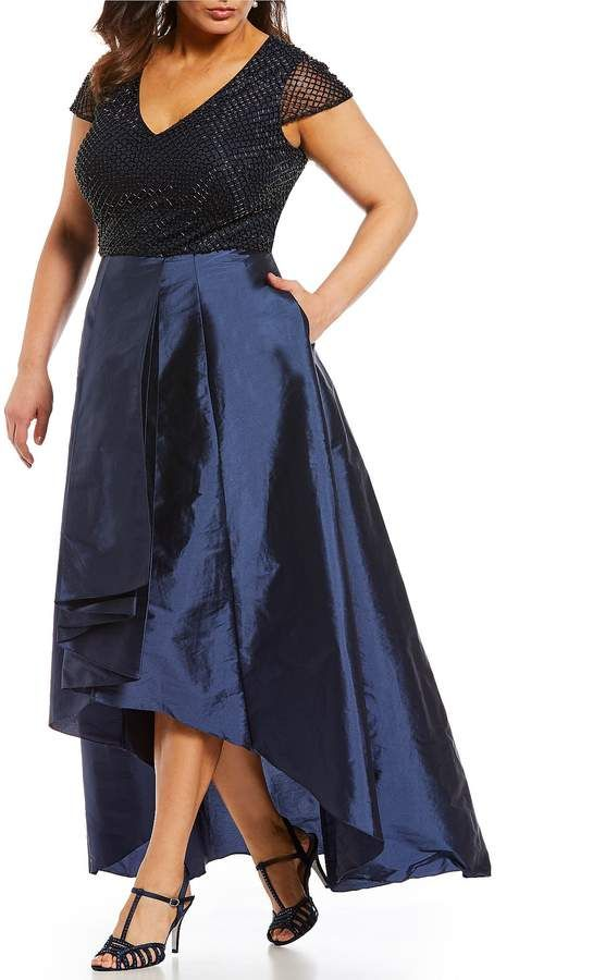 65fdd9f96c Adrianna Papell Plus Beaded Hi-Low Gown. Plus size gowns. Disclosure ...