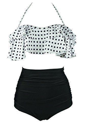 f33afc1731 Amazon.com: Cocoship Creamy White & Green Solids Retro Boho Flounce Falbala  High Waist Bikini Set Chic Swimsuit Swimwear XXL women's fashion for wo…