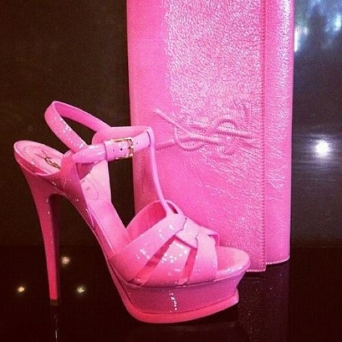The YSL Tribute sandal in candy pink. | Perfectly Pink | Pinterest