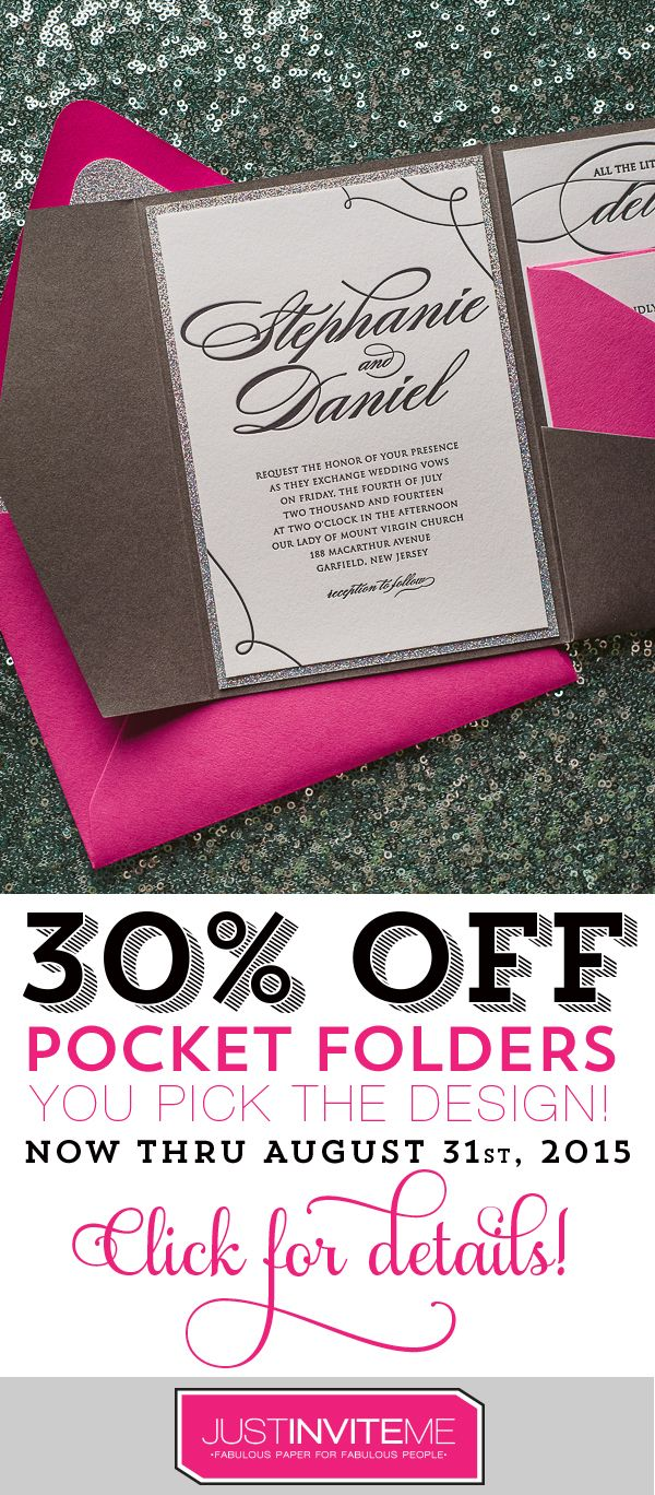 sending wedding invitations months before%0A Looking for a way to get glamorous wedding invitations at a discount  Our  Invite of the Month sale for August covers all of our Pocket Folder Style