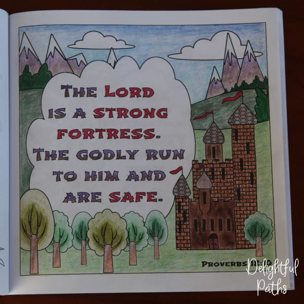 Proverbs adult coloring book from Delightful Paths Proverbs 18:10 NLT