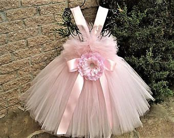 PALE PINK Tutu Dress - Flower Girl Gown - Pageant Girl Outfit - First Birthday Dress - Baptism Gown - Christening Dress - Baby Tutu Dress -