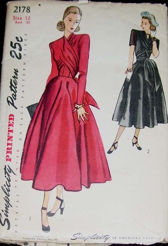 late 40s early 50s looks pink evening cocktail dress full skirt black long short sleeves satin color illustration print ad Simplicity 2178, these patterns would be cute framed in a sewing room