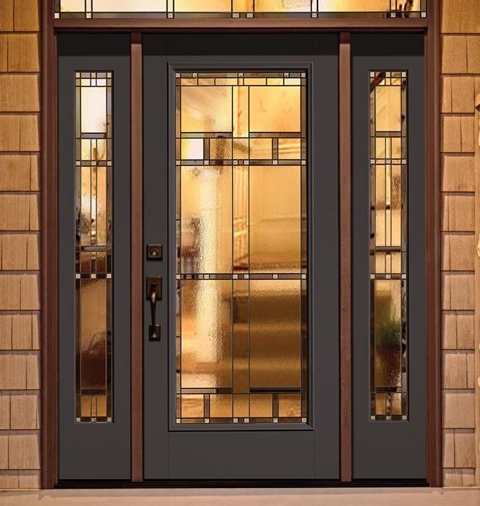 Classic Craft Canvas Collection Fiberglass Door Painted Naval With Homeward Decorative  Glass