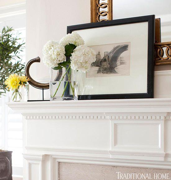 Delicate Dentil Molding In Crisp White Gives The Living Room Mantel A Sophisticated Feel