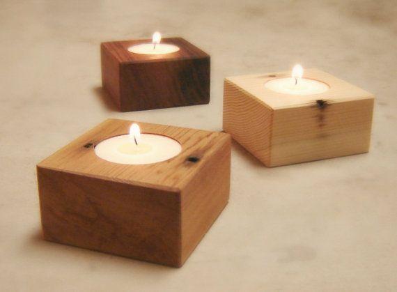 Natural Wood Tea Light Holder Candle Holder by andrewsreclaimed, $9.00