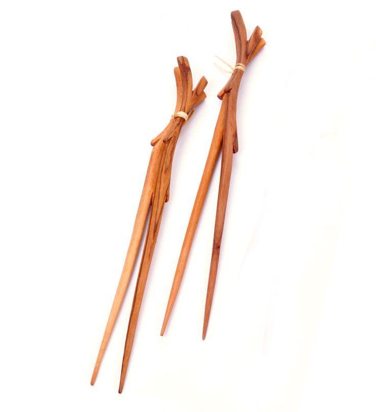 Two Pairs of Wooden Branch Chopsticks - Kitchen Handmade in Africa - Swahili Modern - 2