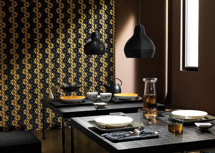 black, gold tiles