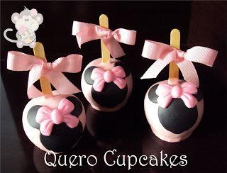 Maçã decorada minnie rosa | Portfólio Quero Cupcakes
