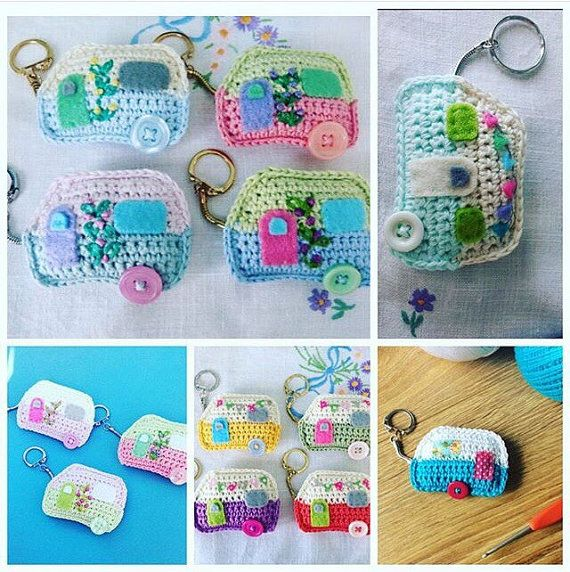 Pdf Pattern for Crochet Caravan Keyring and by FloAndDotShop