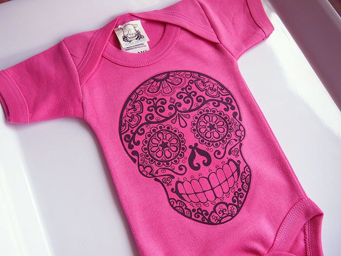 Fashionable Child Lady Cranium Garments three 6 9 month Scorching Pink Day of the Lifeless new child bodysuit Tattoo Rockabilly child garments Bathe Punk Mother. Spring