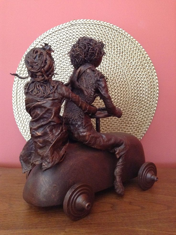 """""""Seamus and His Girl"""" - Fabric Sculpture by Lucy H. Anglin"""