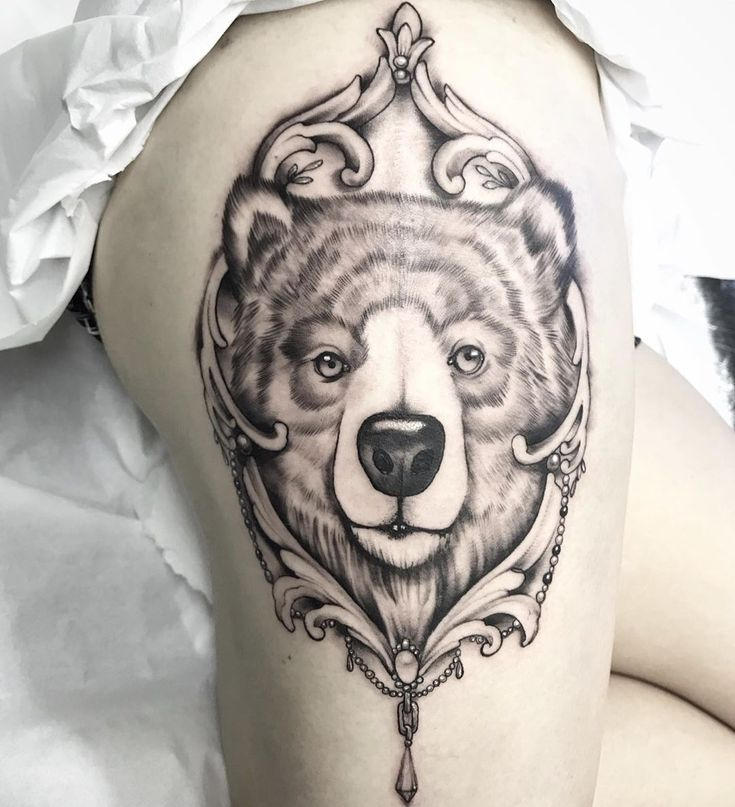 Grizzly Bear done yesterday. A meaningful one – custom for Julie ! Swipe across …  – animaltattoo