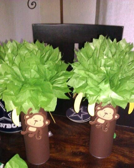 MONKEY PARTY centerpieces (2) mod monkey 1st first birthday party baby shower DECORATION favor decor. $20.00, via Etsy.