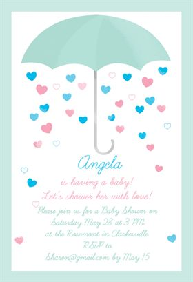 "Lots of free printable invites on this website ""Shower with Love""  printable invitation template. Customize, add text and photos. Print or download for free!"