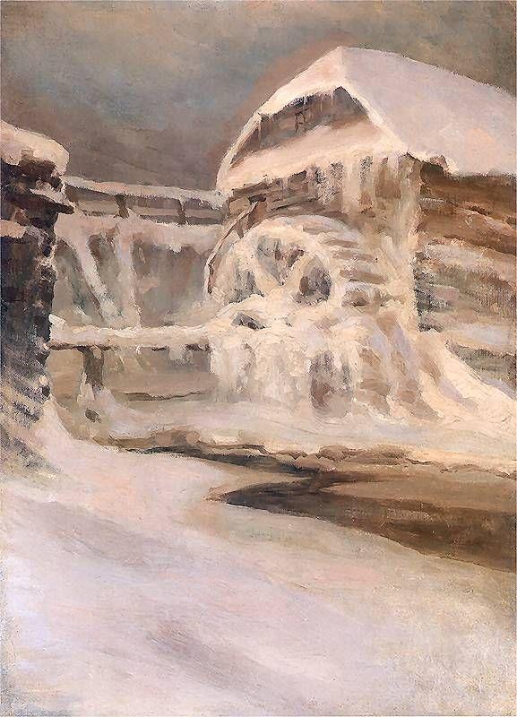 Mlyn zima by Ruszczyc.  Cold = zima