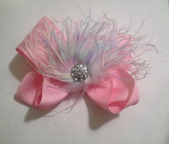 Dance Competition Pink Rainbow Feather by FancyGirlBoutiqueNYC
