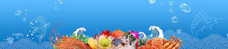 seafood fish playful underwater world blue banner
