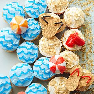 From Better Homes and Gardens, bring the beach & the ocean to your party table with these cute cupcakes. #underthesea #vitaminsea #beach #party #desserts