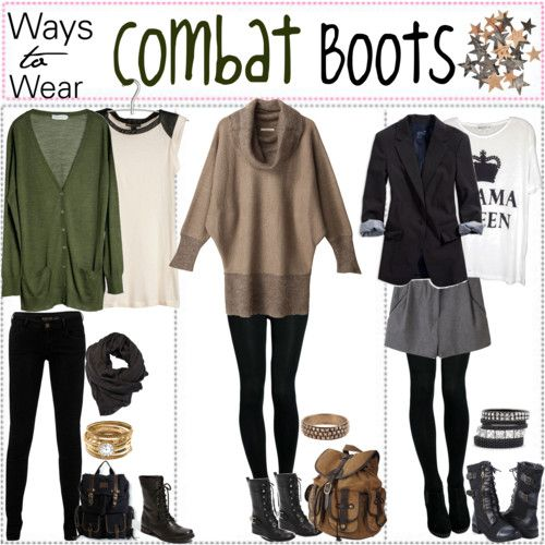 How to Wear gray combat boots | Ways To Wear; Combat BOOTS*♥ - Polyvore