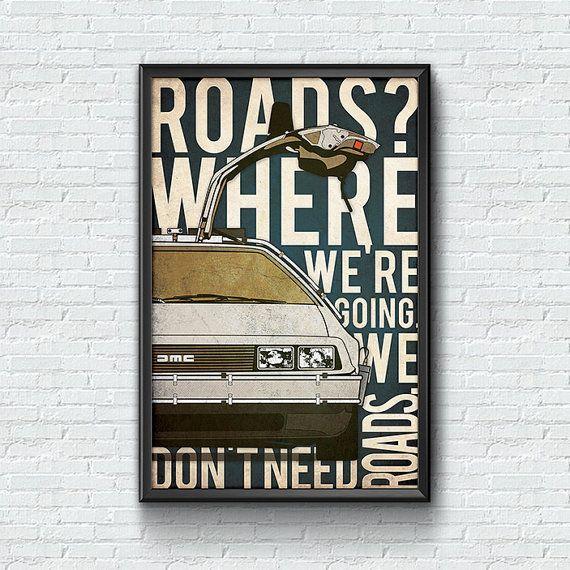 Zurück in die Zukunft DeLorean 80er Jahre Poster