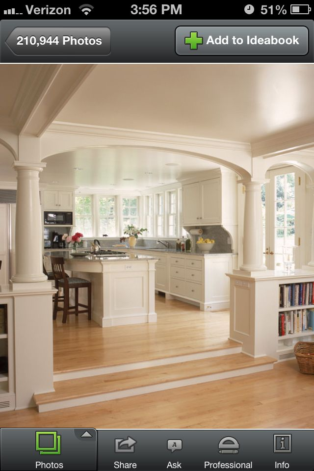 Interior decorating half wall with bookshelves and columns beautiful ideas kitchens design - Half wall interior design ...