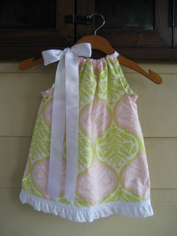 Pink and Lime Green Damask Pillowcase Dress