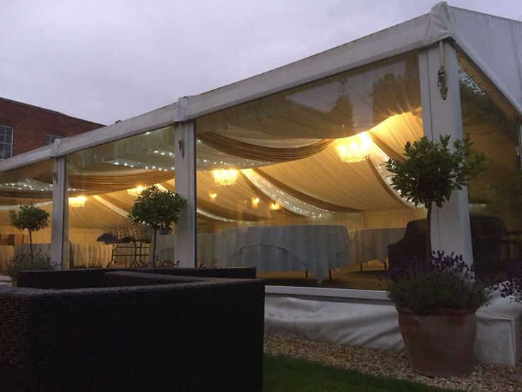 Marquee style, swags @twinkles
