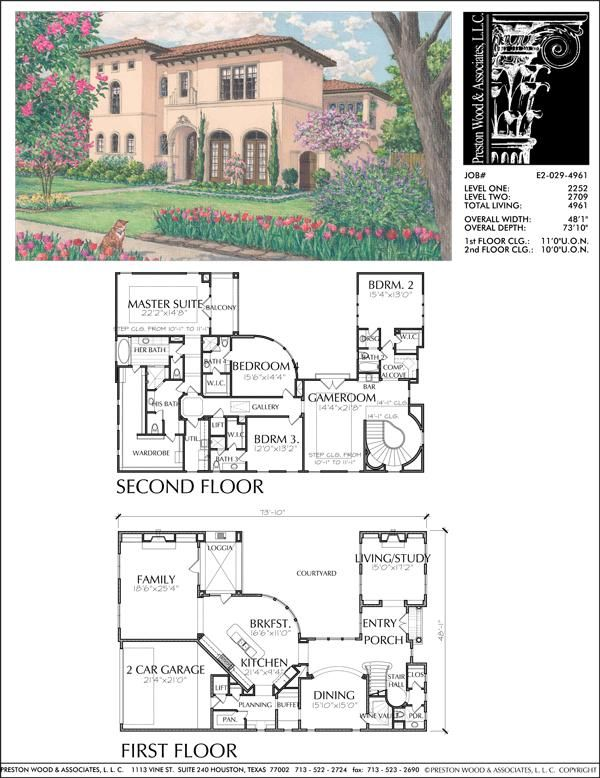 Two Story House Plan E2029 Mediterranean Homes Two Story House Plans Spanish Style Homes